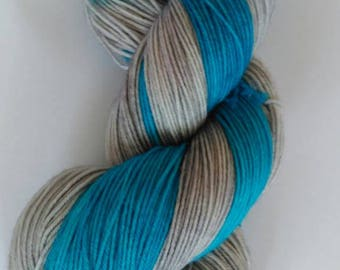 Turquoise Bay - Self Striping Hand Dyed Sock/Fingering Weight Yarn 100g