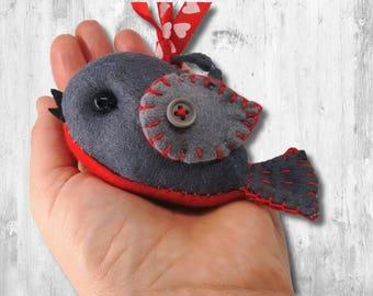 Felt Pattern-Bird Ornament Pattern-Felt Bird Pattern-Felt PDF Pattern-Decor-Felt bird ornament-Robin Pattern-Christmas Robin Ornament