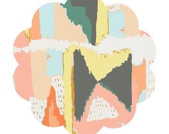 Modern print fabric. Painting celebration print fabric. Art gallery fabrics. Cotton fabric supply. Apparel cotton fabric. DIY sewing fabric.