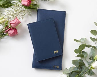 New! Personalised Navy Slimline Leather Travel Wallet