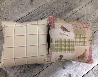 Feather filled country bird fabric cushion,