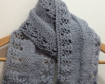 Grey scarf, Knitted grey scarf, Long grey scarf, Women's Scarf, Gift for Her, Women's Fashion, Summer scarf, Grey lacy scarf, Knit scarf