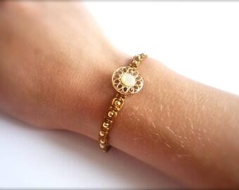 Caramel macrame, bead and gold button bracelet