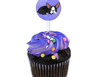 Sleepy Boston Terrier Cake Cupcake Toppers Picks Set