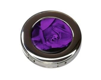 Rose Flower Purple Petals Foldable Purse Handbag Hook Hanger Holder