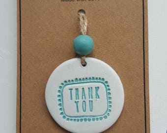 Thank you clay gift tag in blue