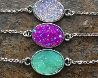 Oval Druzy Necklace//Silver Druzy Necklace//Purple Druzy Necklace//Lavender Druzy Necklace//Mint Druzy Necklace//Druzy Jewelry//Minimalist