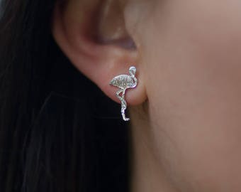 Stud | Earring | Silver | Minimalistic | Flamingo