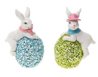 Darice® Mini White Bunny Rabbit Figurines on Pastel Flower Eggs You will get the Blue one