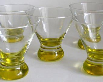 Vintage Martini Barware Set of 5 Glasses Yellow Sherberts