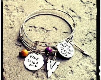 My Tribe • Find Your Tribe- Charm Bangle - Hand Stamped Charm//Arrowhead//Feather//Arrow//Jasper Stone(Choose Color) Stainless/Silver/Gift