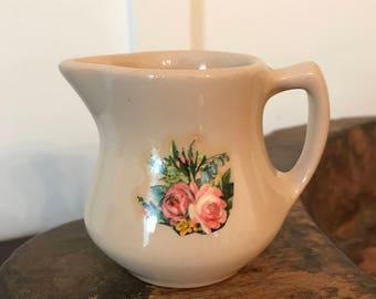 Vintage Shenango Dark Beige or Sand-Colored Individual Creamer with Floral Pattern