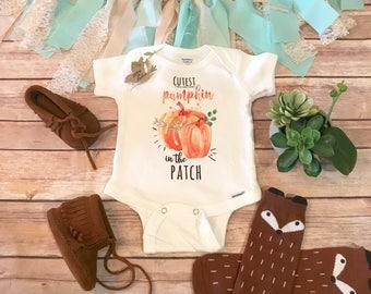 Pumpkin Onesie®, Halloween Baby Clothes, Cutest Pumpkin in the Patch, Pumpkin Baby Bodysuit, Baby Girl Clothes, Fall Baby Onesie, Cute Onesi