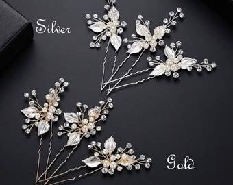 Pearl hair pins, wedding hair pins, decretive pins, pearl and silver pins, flower hair pins, flower pins
