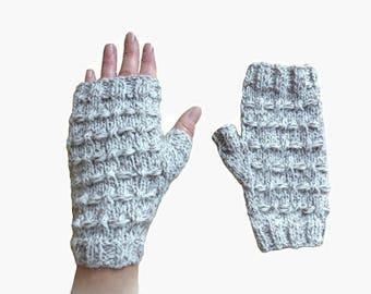 mitts woman fancy wool ecru melange hand-made