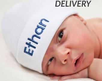 Personalized Newborn Hat, White Hospital Hat, Baby Boy Newborn Hat, Personalized Baby Boy Hat, Newborn hat with Name, White Baby Hat