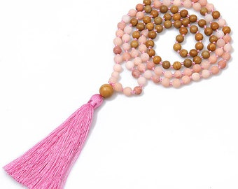 FREE SHIPPING Shaman Blessed Rhodonite & Wood Mantra or Affirmation Necklace for Heart Healing, Raising Self-Esteem, and Self Love