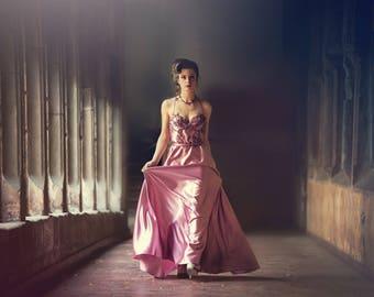 Wedding dress, vintage, lace and satin silk, unique