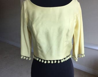Yellow Cropped Top Hanging Tassels 1960 1970