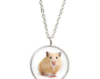 Hamster Design Pendant and Silver Plated Necklace