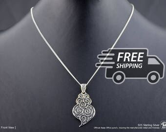 Portuguese Filigree PENDANT Twirls Heart (4,5cm) with Necklace in 925 Sterling Silver