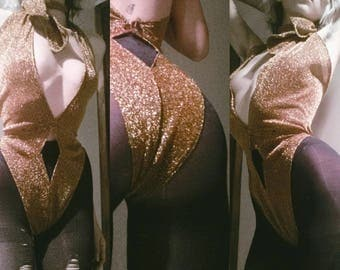 Made To Order Glitter Metallic Stretch Lurex Diamond Cut High Waisted Halter Bodysuit With Scarf Glam Disco 70s