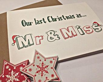 Last Christmas as Mr & Miss Card - Christmas Cards for Him
