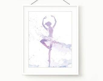 Watercolor Printable Ballet Style Blue fuchsia DIGITAL Print Dancing Girl room Art , Watercolor Wall Art , Digital Art Painting Print