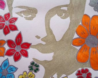 drawing woman face with flowers