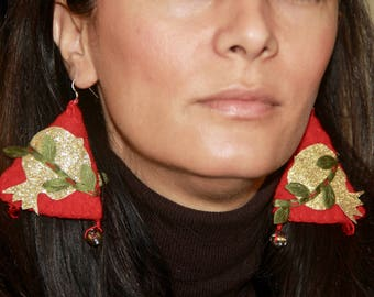Nowruz festive earrings Wool Lace Felted Unusual Sparkle Gold Persian Pomegranate Hand Sewn