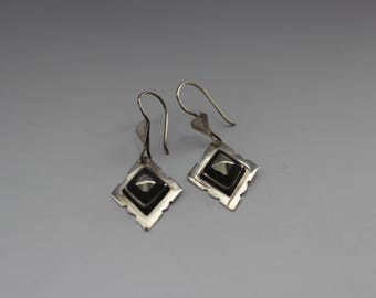 Silver and Ebony Tuareg Tiny Diamond Drop Earrings