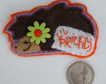Eco-Felt Hand Sewn Hedgehog Pin