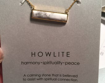 Stackable All Natural Howlite Crystal Stone Healing Necklace