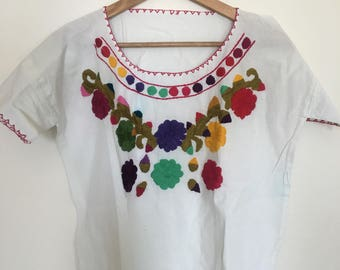 10% off! 70s white mexican blouse