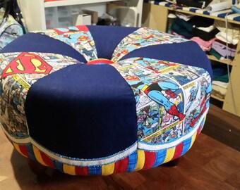 Superman fabric tuffet ottoman