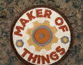 Maker of things badge iron on patch
