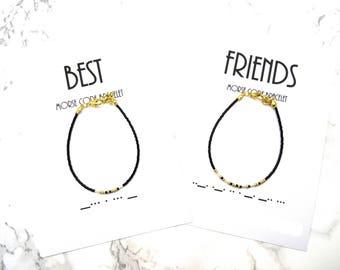 BEST FRIENDS morse code bracelet, sorority bracelet, minimalist dainty bracelet, BFF morse code set of 2,friendship bracelet, morse code