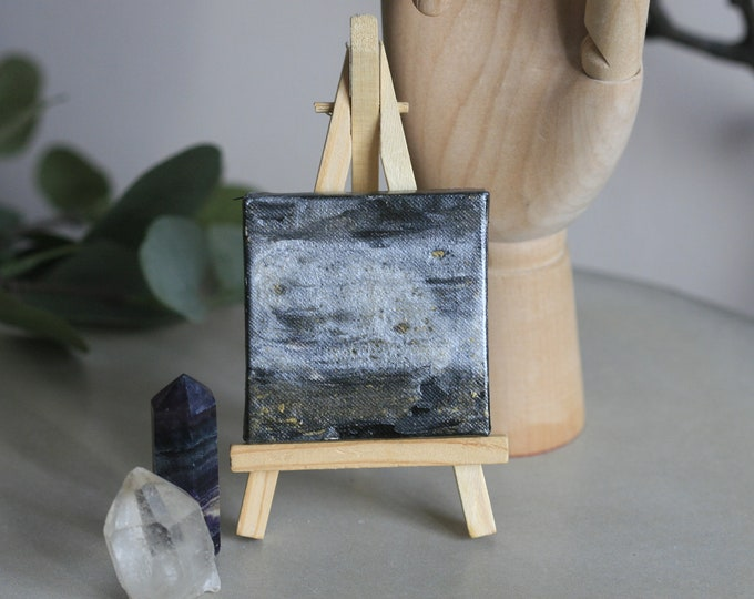 Abstarct Acrylic on Mini Canvas & Easel | Abstract Art | Gift