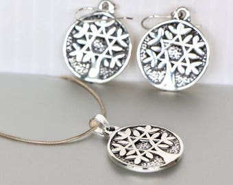 Tree Of Life Silver Gift Set, Romantic Gift Set For Girlfriend, Silver Necklace And Earrings, Bohemian Jewellery, P124/E148