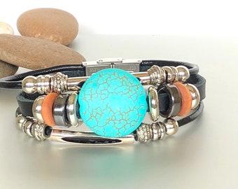 Round Turquoise Marble Stone Bracelet, Black Leather Bracelet, Unisex Leather Bracelet, Gift Bracelet, Bohemian Bracelet, LO86