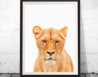 Lion Print, Lion Wall Art, Safari Prints, Kids Wall Art, Animal Wall Art, Lion Photo, Lion Poster, Nursery Decor, Baby Shower Print