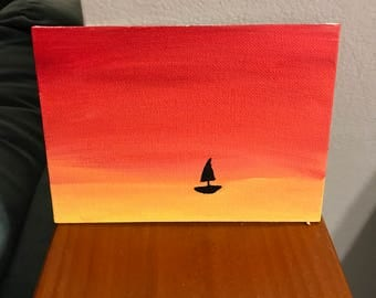 Red & Yellow Sunset Sailboat Acrylic Painting 5 x 7 Canvas