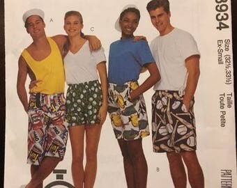 McCall's #8934 - Misses', Men's, or Teen Boys' Boxer Shorts - Size XS - Paper Pattern