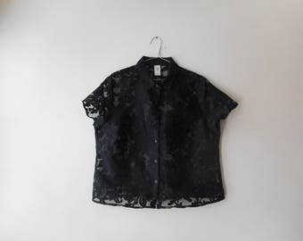 90's See Through Floral Short Sleeve Button Up Collared Shirt