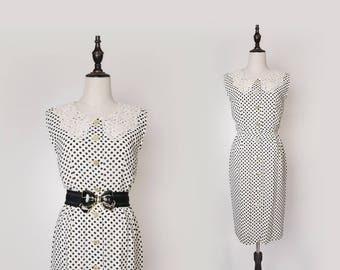 Upcycled Vintage Black White Polka Dot Dress, Flower White Lace Collar, Gold Button, Japanese Vintage Fashion 1970s Size S-M