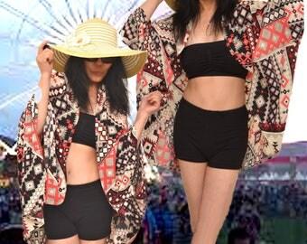 Festival poncho, Oversize cardigan, funky kimono, Coachella poncho, super chic cape, bikini cover up, hippie poncho, spring poncho