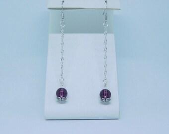 Amethyst Swarovski Crystal Earrings. Sterling Silver. Long dangle Earrings.