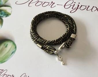 Bracelet/Necklace fabric Japanese black and yellow
