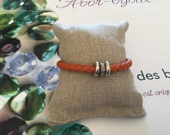 Orange synthetic leather braided bracelet