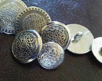 Silver Geometric Sunflower Button. Metal Antique Button. Sunflower Button. Vintage Button. 7 Piece set (3 large,2 medium, & 1 small)